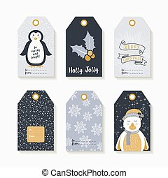 Christmas set of labels and tags for holiday gifts