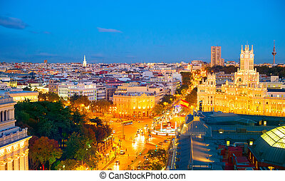 Skyline of Madrid, Spain - Panoramic view of Madrid at...
