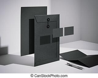 Black mockup in a modern studio. 3d rendering
