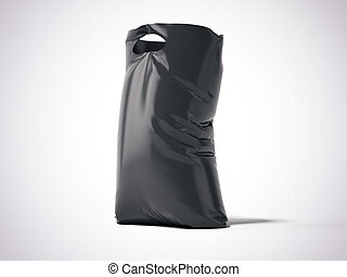 Black plastic bag in a studio. 3d renderign