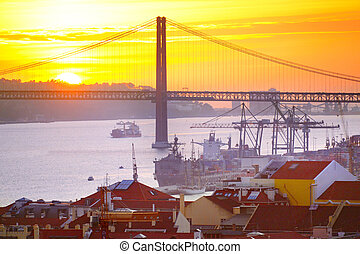 Lisbon at sunset, Portugal - View of Lisbon port and 25...