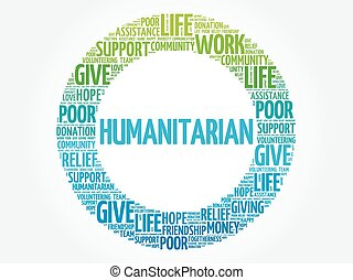 Humanitarian word cloud collage, concept background