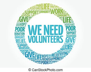 WE NEED VOLUNTEERS word cloud collage, concept background
