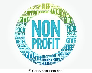 Non Profit word cloud collage, concept background
