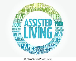 Assisted Living word cloud collage, concept background