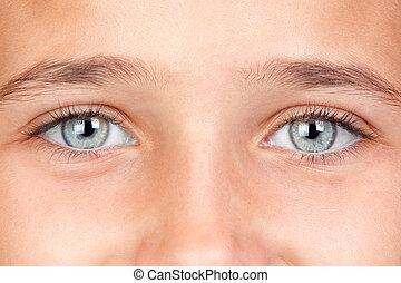 bastante, niña, azul, ojos
