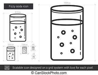 Fizzy soda line icon. - Fizzy soda vector line icon isolated...