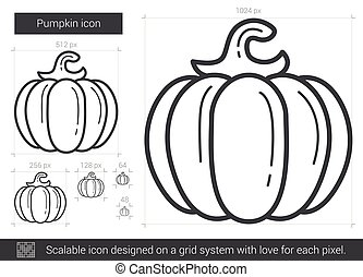 Pumpkin line icon. - Pumpkin vector line icon isolated on...