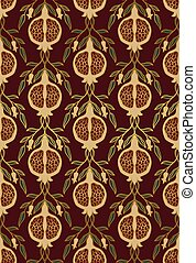 Floral pattern with pomegranates. - Rich floral pattern....