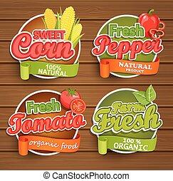 Farm fresh, food label. - Farm fresh, organic food label -...