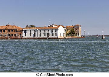 Murano island harbor old architecture, Venice, Italy. -...