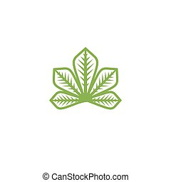 Isolated abstract flat green color logo. Chestnut tree leaf on white background vector illustration. Outlined in monochrome lines nature element logotype.