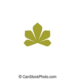 Isolated abstract flat green color logo. Chestnut tree leaf on white background vector illustration. Nature element logotype.