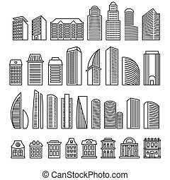 Isolated outlined in monochrome lines blocks of flats logo set. Vector skyscrapers illustration. Urban real estate signs for business brochure. Designed architecture logotypes. Building constructions.