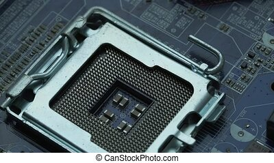 Photo of CPU. Hardware. - Hardware. Photo of processor on...