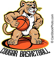 cougar basketball team design with cartoon mascot for...