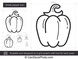 Sweet pepper line icon. - Sweet pepper vector line icon...