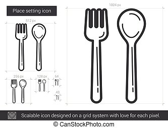 Place setting line icon. - Place setting vector line icon...