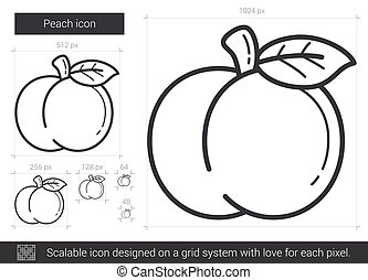 Peach line icon. - Peach vector line icon isolated on white...