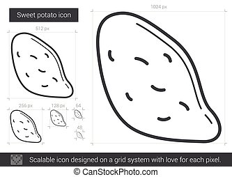 Sweet potato line icon. - Sweet potato vector line icon...
