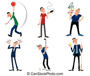 Six leisure games - Vector illustration of a six leisure...