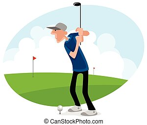 Golf player strikes - Vector illustration of a golf player...
