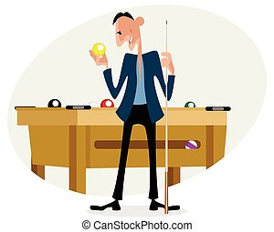 Billiard player with cue - Vector illustration of a billiard...