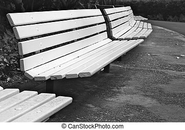 Curved Row of Park Benches