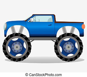 Monster truck with big wheels. Car vehicle in blue. Vector...