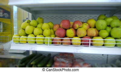 organic fruits and vegetables on the supermarket shelf