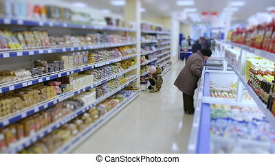 food supermarket, variety of goods on store shelves.