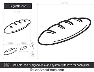 Baguette line icon. - Baguette vector line icon isolated on...