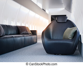 Luxury airplane cabin with atmchairs. 3d rendering - Luxury...