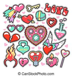 Hearts Love Badges, Stickers, Patches for Romatic Scrapbook...