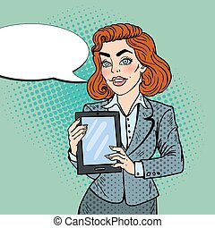 Pop Art Beautiful Business Woman Holding Digital Tablet. Vector illustration