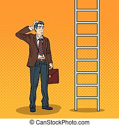Pop Art Doubtful Businessman Looking Up at Ladder. Vector...