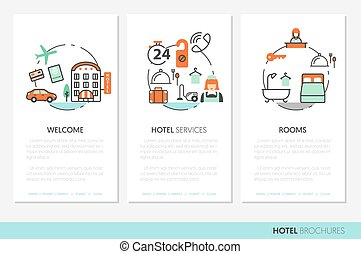 Hotel Accomodation Business Brochure Template with Thin Line...