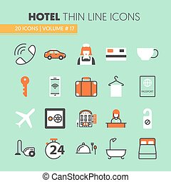 Hotel Accomodation Thin Line Vector Icons Set with Reception...