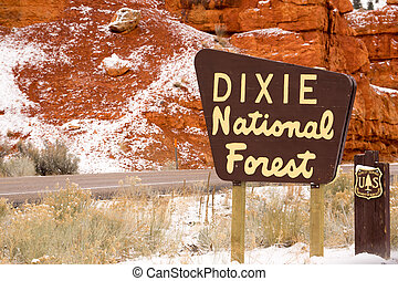 Roadway Dixie Nationa Forest Sign Utah USA - Fresh snow has...