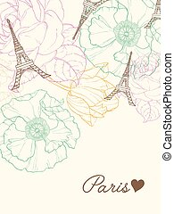 Vector Eifel Tower Paris Greeting Card In Vintage Style With...