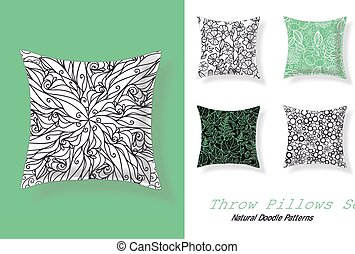 Set Of Throw Pillows In Matching Unique Abstract Doodle...