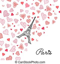 Vector Eifel Tower Paris Greeting Card Bursting With St...