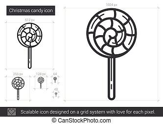 lijn, pictogram, versuikeren, Kerstmis
