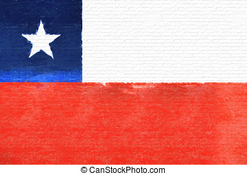 Flag of Chile wall - Illustration of the national flag of...