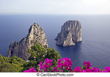island of Capri - Famous Faraglioni rocks off the island of...