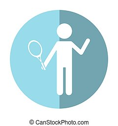 character player tennis and racket shadow