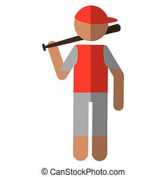 character player baseball with bat red cap vector...