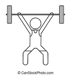 man weight lifter sport athlete outline