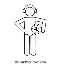 water polo player ball cap outline vector illustration eps...