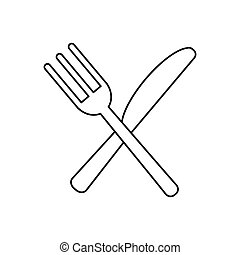 utensils kitchen crossed fork and knife outline